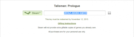 Игра Talisman: Prologue и как получить её бесплатно в steam.
